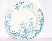 French Vintage plate blue and white ironstone scroll floral with acanthus Staffordshire flow blue delph blue blue willow l
