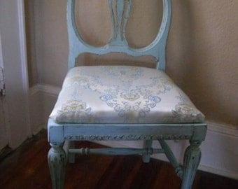 Antique Side Chair Turquoise Chair Bedroom Painted Furniture