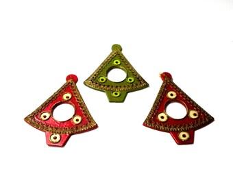 4 Vintage Christmas Ornaments- Gift Tag- Tree Angel- Decorative Wood