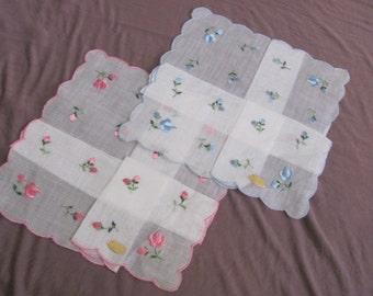 Set of 2 Beautiful White Floral Cotton Vintage Hankie Handkerchief - New Unused