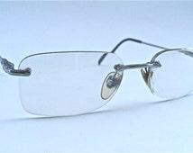 Vintage Persol Rimless Eyeglass Rectangular Italian Glasses Prescription Eyewear Silver Italian Frame Rectangle 2106 – V Designer Signature