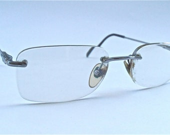 Vintage Persol Rimless Eyeglass Rectangular Italian Glasses Prescription Eyewear Silver Italian Frame Rectangle 2106 – V Designer Signature