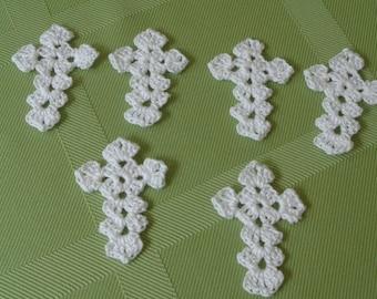 6 Crocheted Applique Crosses in White