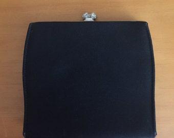 Vintage Black clutch with rhinestone clasp