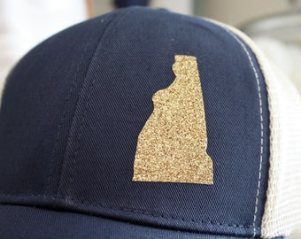 New Hampshire 'Sparkly State' Hat - Gold State - State Trucker Hat - Organic/ Recycled Material Hat