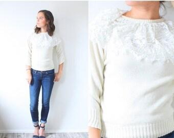 20% OFF VALENTINES SALE Vintage lace collar sweater // winter cream sweater // Xs sweater // boho bohemian small sweater // crochet modest k