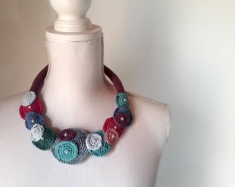 Rigid Crochet necklace, adjustable choker, fiber jewelry, for her,statement necklace , cotton necklace, spring-summer accessories