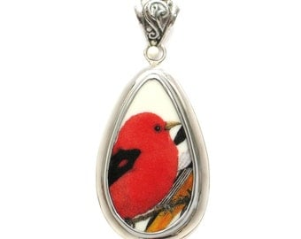 Broken China Jewelry Scarlet Tanager Red Bird Sterling Tall Drop Pendant