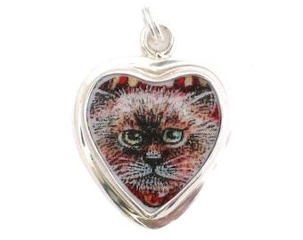 Broken China Jewelry Kitty Cat Charm 01