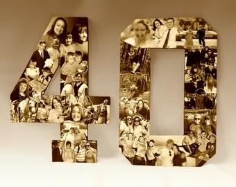 40th Birthday Collage, Milestone Birthday College, Alphabet Collage, Anniversary Collage, Numbers Collage, Birthday Collage, Photo Collage