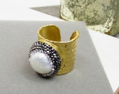 Textured Druzy Pearl Ring
