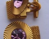 Rare Vintage Russian Soviet IRON cufflinks with GOLDEN coating USSR purple stone