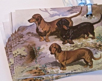 Dachshund Dogs Tags, Wedding tags, gift tags lot of 6