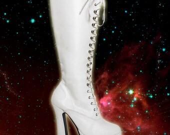 Pleaser White Platform Stripper Heel Platform Lace Up Gogo Boots 8