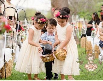 champagne flower girl dress, baby dress, vintage flower girl dress, lace dress, cream flower girl dress, champagne flower girl dress