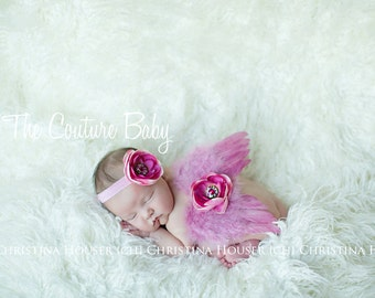 Hot Pink & Pink Feather Angel Wing and Headband 2 Piece Set Preemie NewBorn Infant Butterfly Fairy Wings