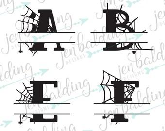 Halloween SVG Fonts - Halloween Monogram SVG - SVG Files - svg Fonts - Halloween svg - Spider Web - svg Files for Cricut - Alphabet svg