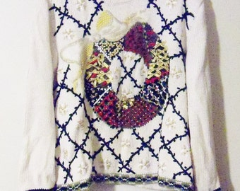 Vintage Sweater Christmas Wreath Off White by Candor Sz XL Gift for Her Birthday Christmas