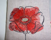 Linen Tea Wallet with Embroidered Red Poppy