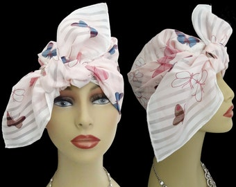 Vintage 1950s Scarf //Butterfliesl//Pink//Blue