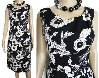 Vintage 1950s Dress//Rhinestones//50s dress// Black//Floral//Rockabilly//New Look//Mod//Wiggle//Party Dress