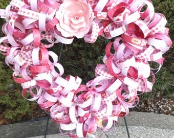 Large Valentine Curly Paper Wreath