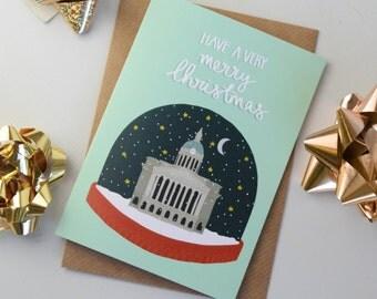 Snow Globe Christmas Card, Nottingham Themed Festive Greetings Card, Seasonal Christmas Card, Hand Lettered Card, Blank Christmas Card