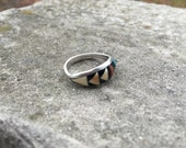 Beautiful bone, turquoise and coral .925 sterling silver zuni pueblo navajo inlay ring - small / petite size 6.5