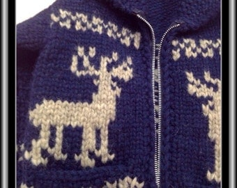 Child's Size 2 Cowichan Style Wool Sweater - Navy Blue and Grey Elk and Snowflakes