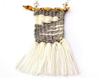Loom Woven Pendant Necklace Handwoven Pendant Textile Jewelry Gray White