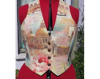 Venice print ladies waistcoat. aqua satin back. fully lined. gondolas.  ladies vest
