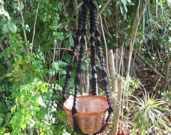 Black 39 Inch No Beads Macrame Plant Hanger