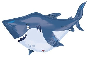 "40"" Shark Balloon, Large Mylar Balloon, Under the Sea Birthday Party Balloons, Fish Birthday Party SHIPS IN 1 - 3 Business Da30"