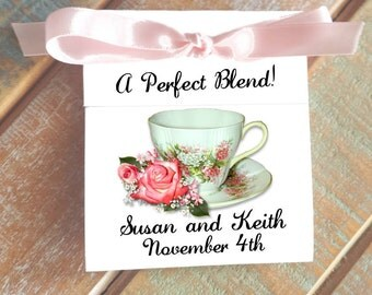 Classy Pretty in Pink Coral Roses Teacup Personalized Tea Bag Wedding FAVORS - A Perfect Blend