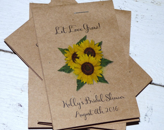 New Rustic Line ~ Sunflower Trio Seed Packet Favors ~ Shabby Chic Favor Perfect for Wedding or Bridal Shower