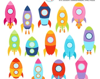 Space Rockets Clipart Set - rockets, space, clip art of flying rockets, spaceships - personal use, small commercial use, instant download
