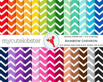 Rainbow Chevron Digital Paper Set - chevron paper pack, chevron, rainbow, pattern - personal use, small commercial use, instant download