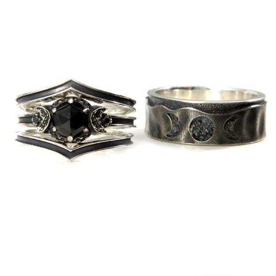 His and Hers Moon Phase Ring Set - Black Spinel and Black Diamonds