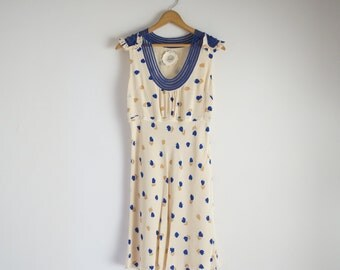 SALE! floral cream silk dress with hand embroidered blue ribbon lace trim