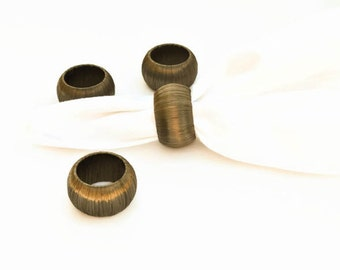 Bronze Napkin Rings for Thanksgiving Decoration - Set of 4 Dark Brown Serviette Holders - Metallic Home Decor