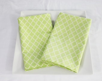 Light Green Lattice Cloth Napkins - Double Sided, Thick and Large - set of 2