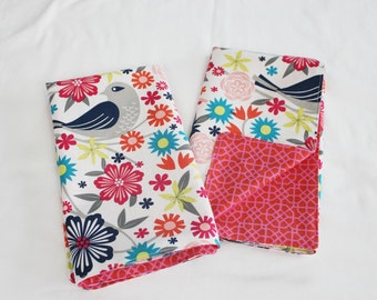 Reversible Birds Cloth Napkins - Double Sided, Thick and Large - set of 2