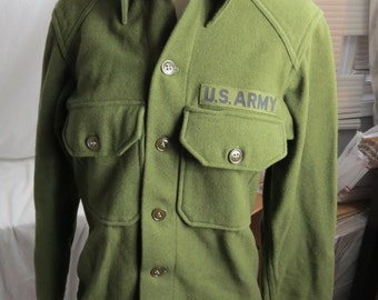 US Army OD Korean War Vietnam Wool Uniform Shirt Size S