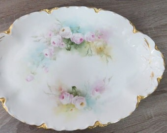 Antique Haviland France Schleiger Rare Pink and Yellow Rose Pattern Platter Sign  SP-2