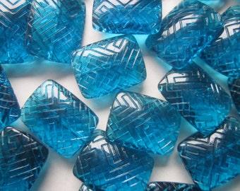 Blue Rectangle Acrylic Transparent Beads 23x18mm 6 Beads