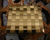 Vintage Gold Tone Petty Cash Compact 1950s to 1960s Weaved Pattern Change/Dollar Bills Stash NOS Hinged Box