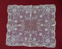 Vintage Off White Handkerchief Lacey 1940s to 1950s Small Square Flowers Wedding Bridal Something Old Crinoline Like/Looking