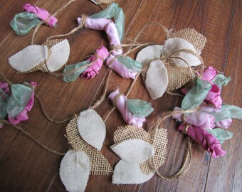 Fabric flower garland, rustic wedding garland decoration, fabric flower garland, country wedding decor, pink flower garland