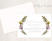 Lovely Lavendar Floral Bridal Shower Invitation