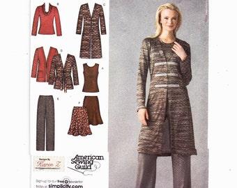 Simplicity 3634 Knit Wardrobe Cardigan Sweater Skirt Pants Top